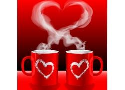 情侣杯心形热气高清图片