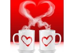 白侣杯心形热气图片素材