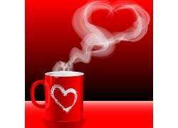 一个红色杯子和心形热气高清图片