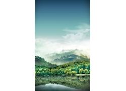 梦幻山林湖水风景图片