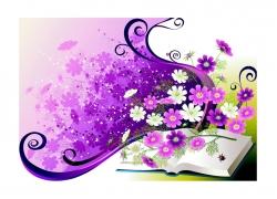 书本与小花矢量素材