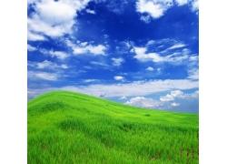 蓝天白云下的绿色丘陵图片