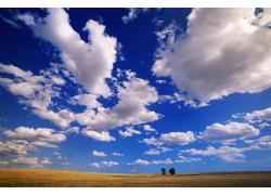 原野上空的蓝天自然风景图片