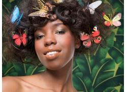 蝴蝶头饰发型设计美女高清图片