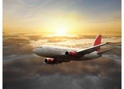 云层中的飞机高清图片