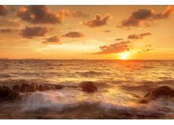 美丽海边夕阳风景