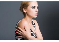 害怕个性妆容外国美女高清图片