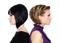 两个背对背女人发型设计图片素材