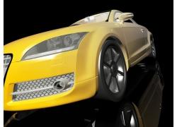 黄色豪华3D汽车模型高清图片