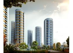 城市豪华建筑3D效果图PSD素材