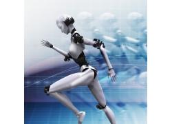 奔跑的女机器人高清图片