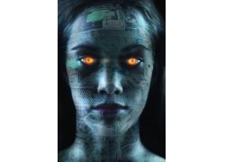 眼睛发光的未来女机器人高清图片