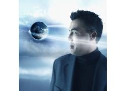 地球与男性科技海报高清图片