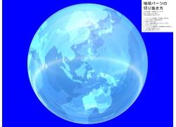 蓝色背景透明水晶地球高清图片