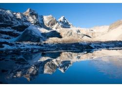 雪山和湖泊风景图片