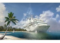 海岸停泊的大轮船高清图片