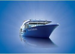 海洋中一搜大轮船特写高清图片