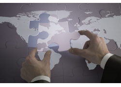 拼图与世界地图创意高清图片