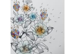 花朵背景彩色手绘