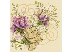 手绘彩色花朵背景