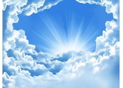 白云遮盖的阳光高清图片