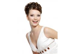 开心的性感外国美女发型设计高清图片