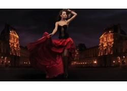 俄罗斯女孩舞动长裙高清图片