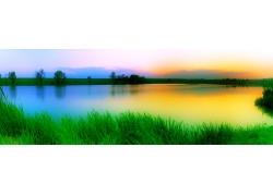 春天时的湖泊风景图片