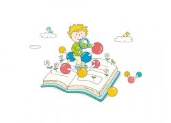 书本上手拿放大镜观察的卡通儿童矢量素材