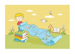 站在书本上拿着纸卷的卡通儿童矢量素材