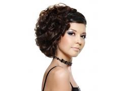 时尚美女发型侧面特写高清图片