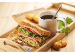 火腿三明治 咖啡高清图片