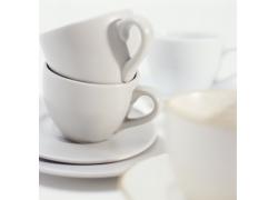 干净清爽的咖啡杯子碟子高清图片