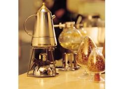 咖啡机与咖啡豆摄影高清图片