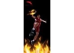 安踏运动装篮球火宣传广告PSD素材