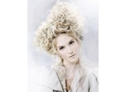 外国女模个性发型设计图片素材