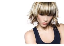 齐刘海时尚发型外国女人高清图片