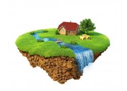 绿色家园飘浮岛图片素材
