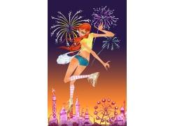 欢呼跳跃的女孩PSD素材图片