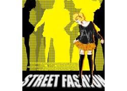 跳舞的时尚女孩PSD分层素材图片