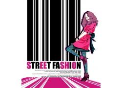 条码与卡通时尚女孩PSD分层素材图片