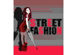 拿雨伞的卡通时尚女孩PSD分层素材图片
