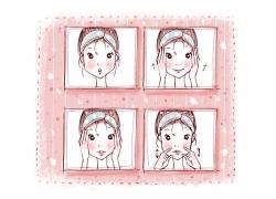 卡通时尚女孩表情PSD分层素材图片