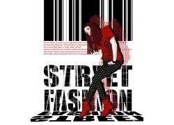 时尚潮流卡通女孩PSD分层素材图片