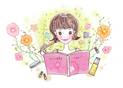 化妆的卡通时尚女孩PSD分层素材图片