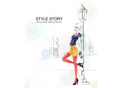 站在街头的时尚女孩PSD分层素材图片