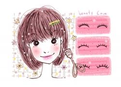 上假睫毛的时尚女孩PSD分层素材图片