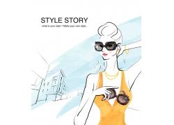 戴墨镜的卡通性感美女PSD分层素材图片