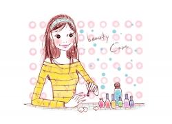 可爱女孩时尚插画PSD素材图片