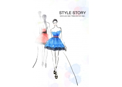 时尚潮流女性插画PSD素材图片
